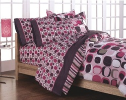 COOL KIDS ROOMS Opus Geometric Circles  Bed in a Bag Set - Pink 5 Pcs Twin