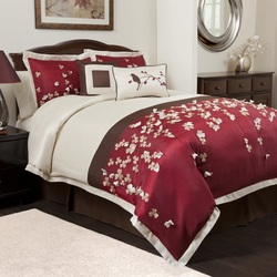 COOL KIDS ROOMS RED FLOWER DROPs 6 PCS COMFORTER SET - FULL