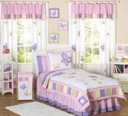 COOL KIDS ROOMS Pink and Purple Butterfly Collection Children's Bedding 3pc Full / Queen Set
