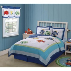 COOL KIDS ROOMS Pem America Colorful Sea and Fish Quilt Set  3 Pieces