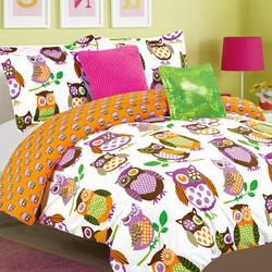 COOL KIDS ROOMS Luxury Home Lyla Colorful Owl 5 Piece Comforter Set Twin