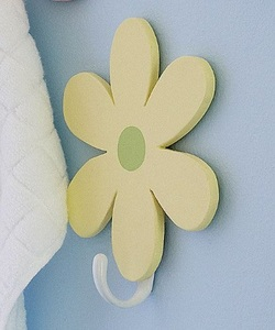 COOL KIDS ROOMS Daisy Flower Wall Hooks for Nursery Kids Or Girls Room
