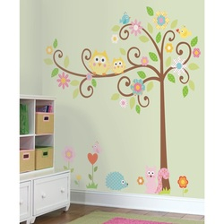 COOL KIDS ROOMS RoomMates Scroll Tree, Owl, Flowers and Animals Peel & Stick Wall Decals