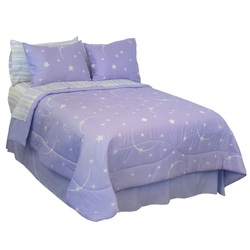 COOL KIDS ROOMS Stellar Moon and Star Glow in the Dark Comforter Set