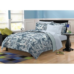 COOL KIDS ROOMS CAMO BLUE AND GRAY CAMOUFLAGE COMFORTER SET