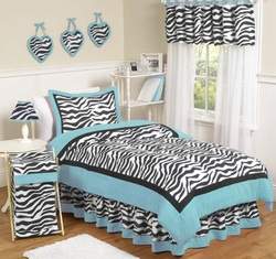 COOL KIDS ROOMS Turquoise Funky Zebra Childrens Bedding 4 pc Twin Set
