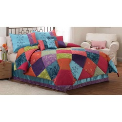 COOL KIDS ROOMS COLORFUL PATCH COMFORTER SET FULL/ QUEEN