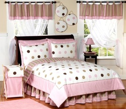 COOL KIDS ROOMS Pink and Brown Modern Dots Teen Bedding 3pc Full / Queen Set