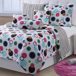 COOL KIDS ROOMS Victoria Classics  Mckenzie 6 Piece Quilt Set Modern Polka Dot Full