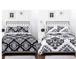COOL KIDS ROOMS Black White Damask Reversible Girls Teens Full Comforter Set 3 Pc