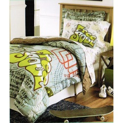 COOL KIDS ROOMS Cannon Teen Full/Queen Graffiti Comforter Mini Set 3 Pcs