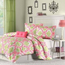COOL KIDS ROOMS Mi-Zone Katelyn Coral and Green Teen Comforter Set