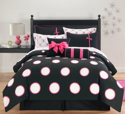 COOL KIDS ROOMS White and Black Polka Dot 10-Piece Comforter Set