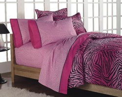 COOL KIDS ROOMS Girls Teen Hot Pink Zebra Print Comforter Bedding Set