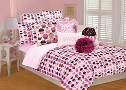 COOL KIDS ROOMS GIRLS PINK AND BROWN CUPCAKE 2 PCS BEDDING SET - TWIN