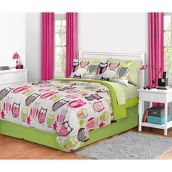 COOL KIDS ROOMS PINK AND GREEN OWL FULL COMFORTER SET - 8PCS