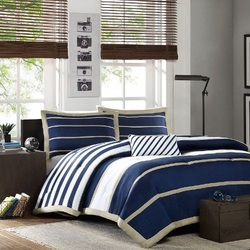 COOL KIDS ROOMS Ashton Blue and White Striped Comforter Set 4 Pc