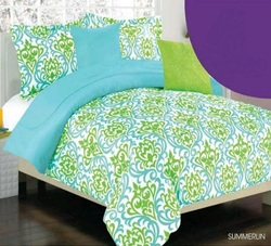 COOL KIDS ROOMS Girls/teen green and blue modern print comforter set 3 Pcs Twin
