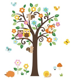 COOL KIDS ROOMS Giant Peel & Stick Nursery Decal - Forest Animals & Flowers Tree