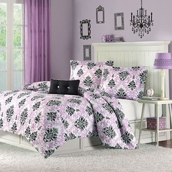 COOL KIDS ROOMS PURPLE AND BLACK KATELYN COMFORTER SET
