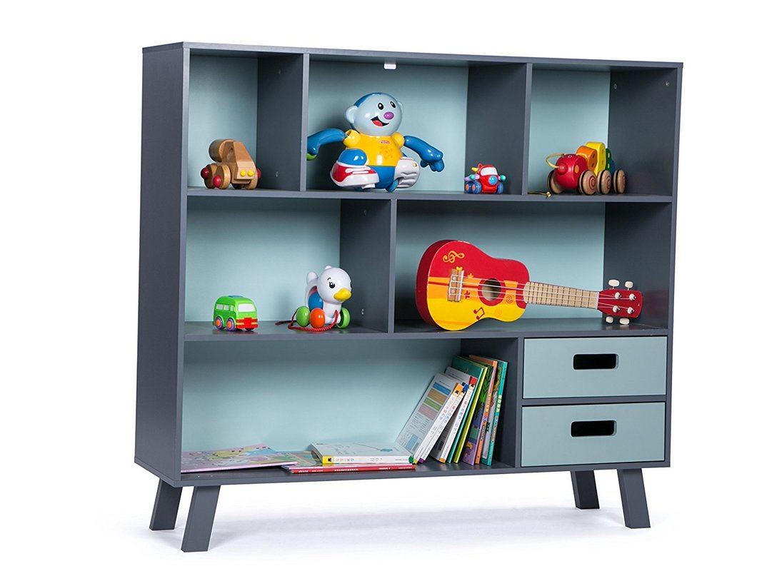 LUCKUP Kids Wood 3-Tier Bookcase w/ Drawer
